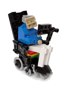 Stephen Hawking in Toy Brick on wheelchair, The Standard Model with digital instructions