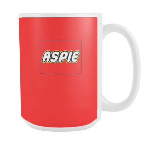 ASPIE Aspergers Coffee / Cocoa / Tea 15oz Ceramic Red Brick Toy (Toy Brick) Mug