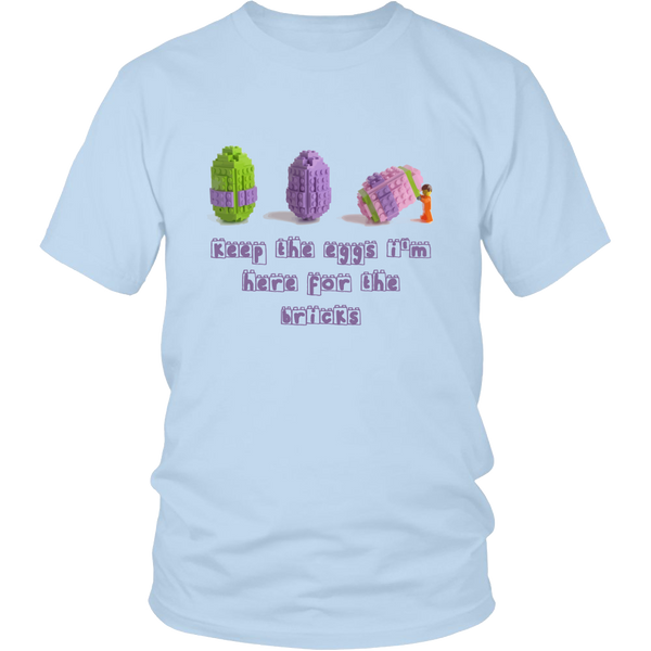 Keep the Eggs I'm here for the Bricks TShirt Easter Themed Toy Brick Tee