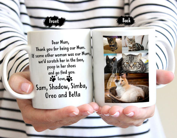 Personalized Customized Cat Mum Mug with Names and Photo 1-12 Cats