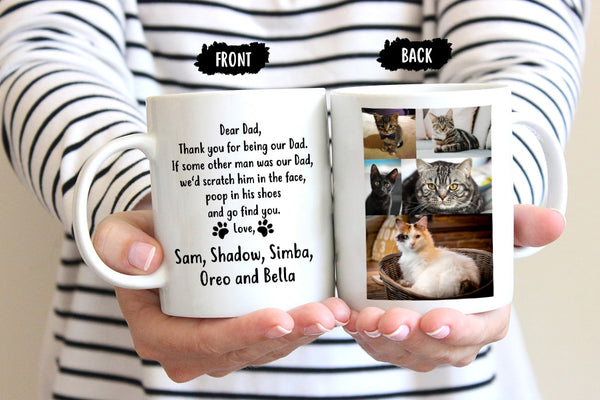 Personalized Cat Dad Mug with names and photo