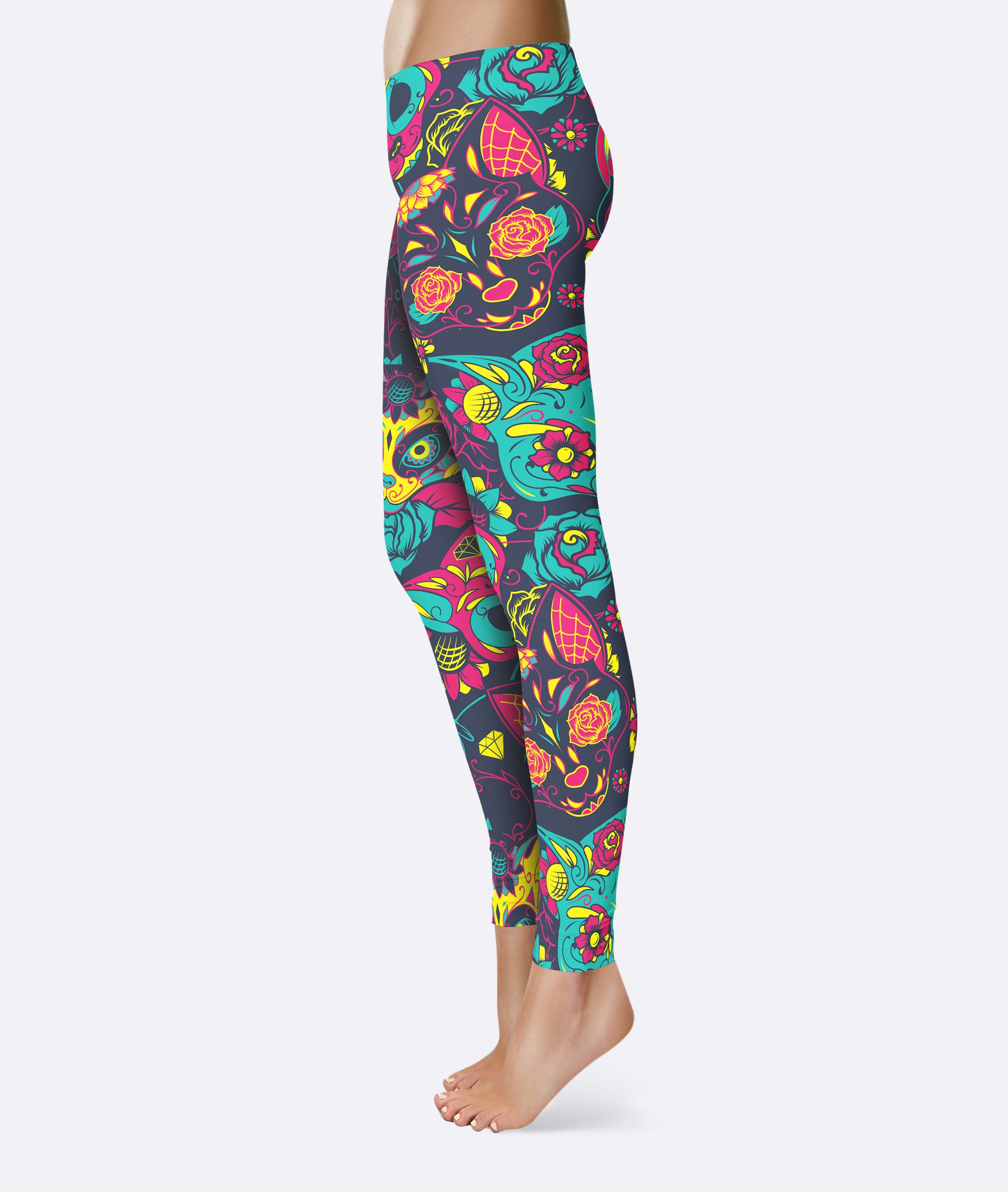 Sugar Skull Cat Kitten Leggings