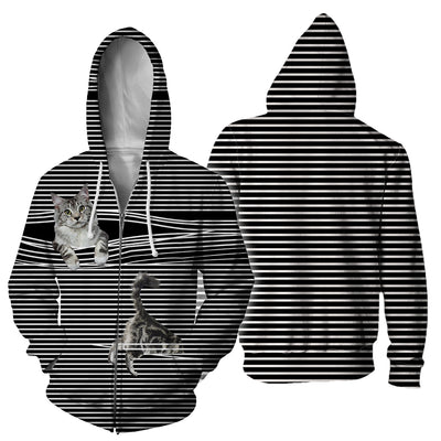 Maine Coon Cat Black White Stripe Hoodie