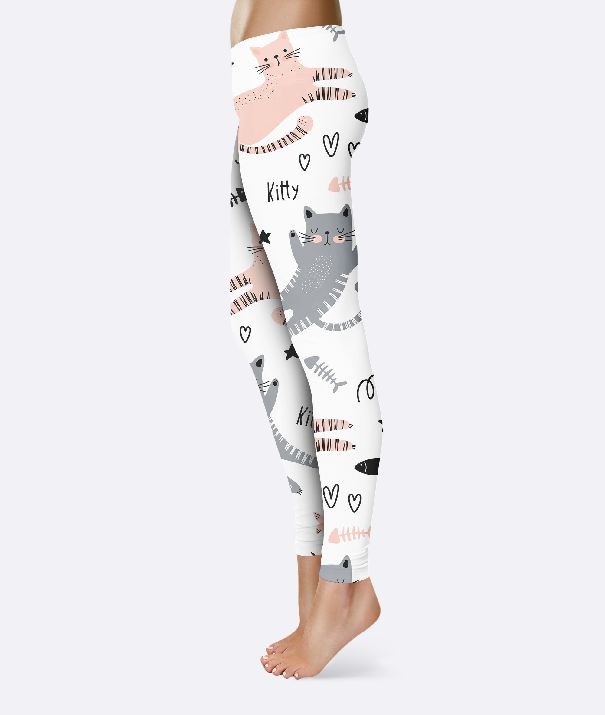 Relaxing Cat White Pattern Leggings