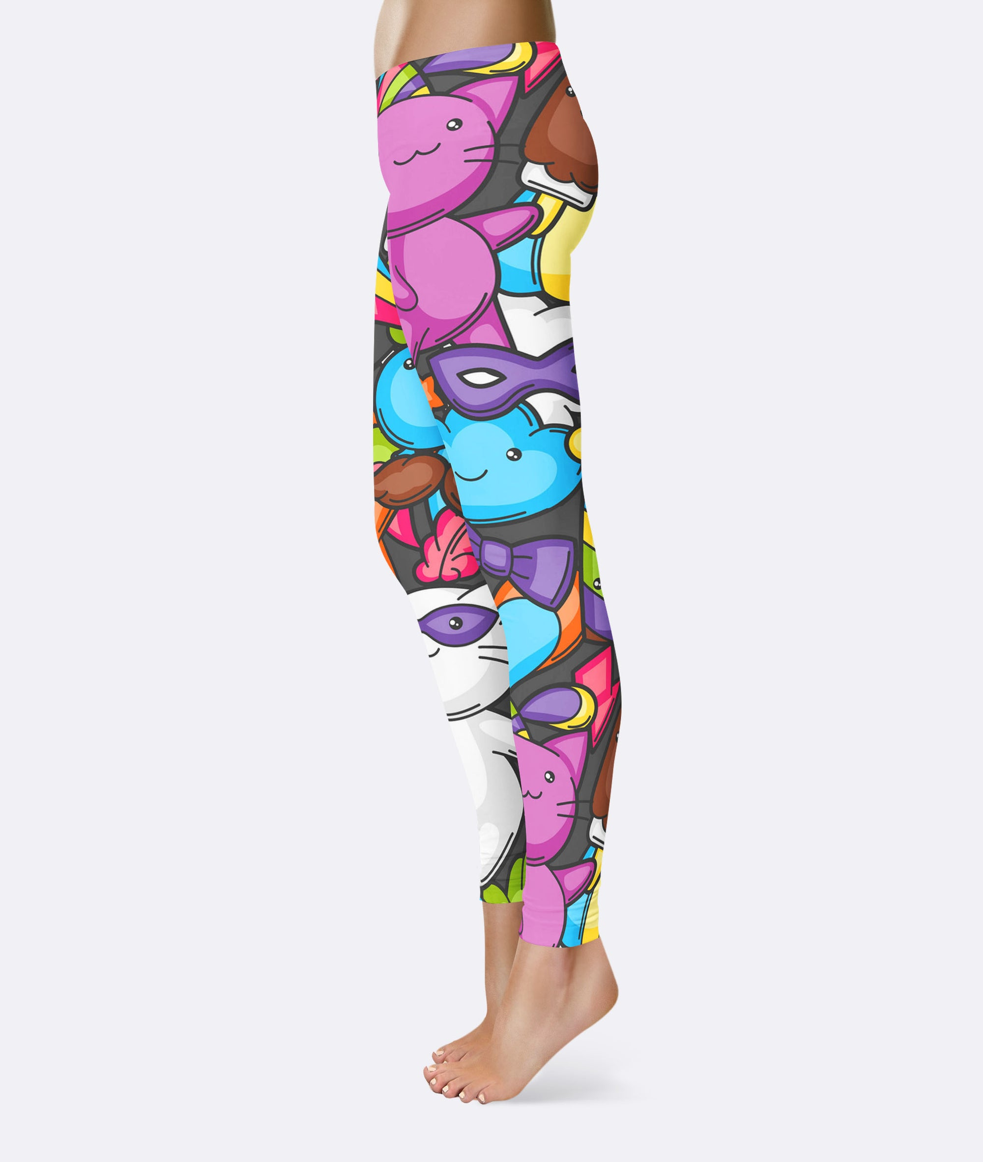 Colorful Cat Kitten Cartoon Pattern Leggings