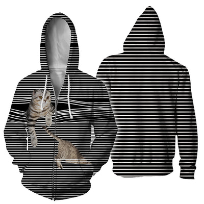 Scottish Fold Cat Black White Stripe Hoodie