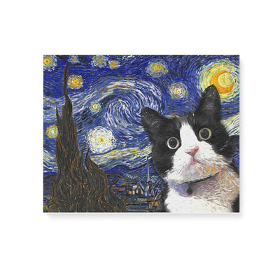 Tuxedo Cat The Starry Night Matte Canvas