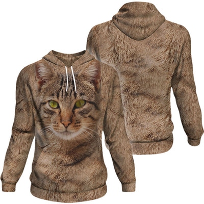 Tabby Orange Brown Cat Kitten Big Face Hoodie