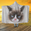 Grumpy Cat Face Hooded Blanket