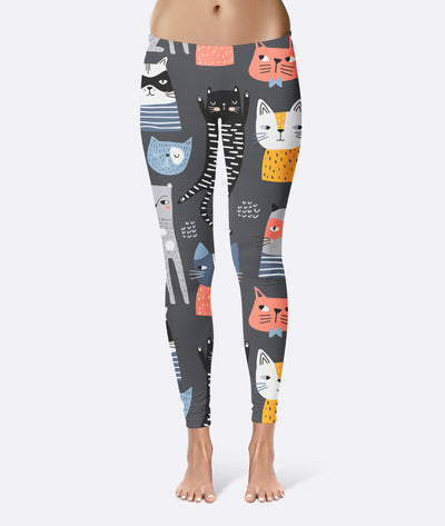 Hand Drawing Kitten Pattern Leggings