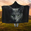 Black Cat Face Hooded Blanket