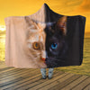 Orange Black Cat Face Hooded Blanket