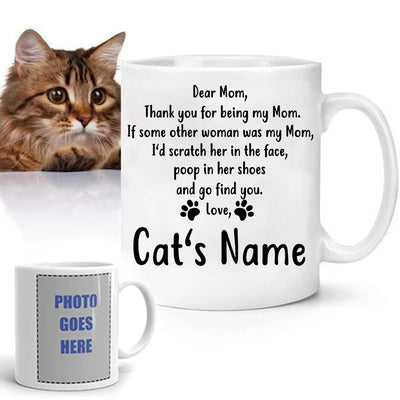 Customizable Cat Mom Mug with names and photos