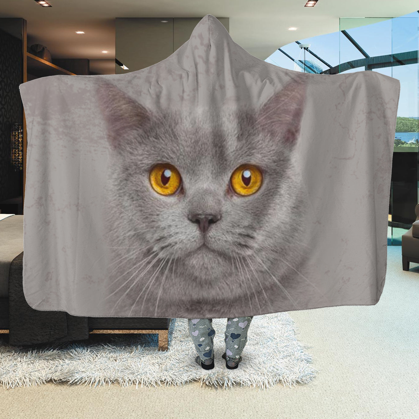 British Shorthair Cat Face Hooded Blanket