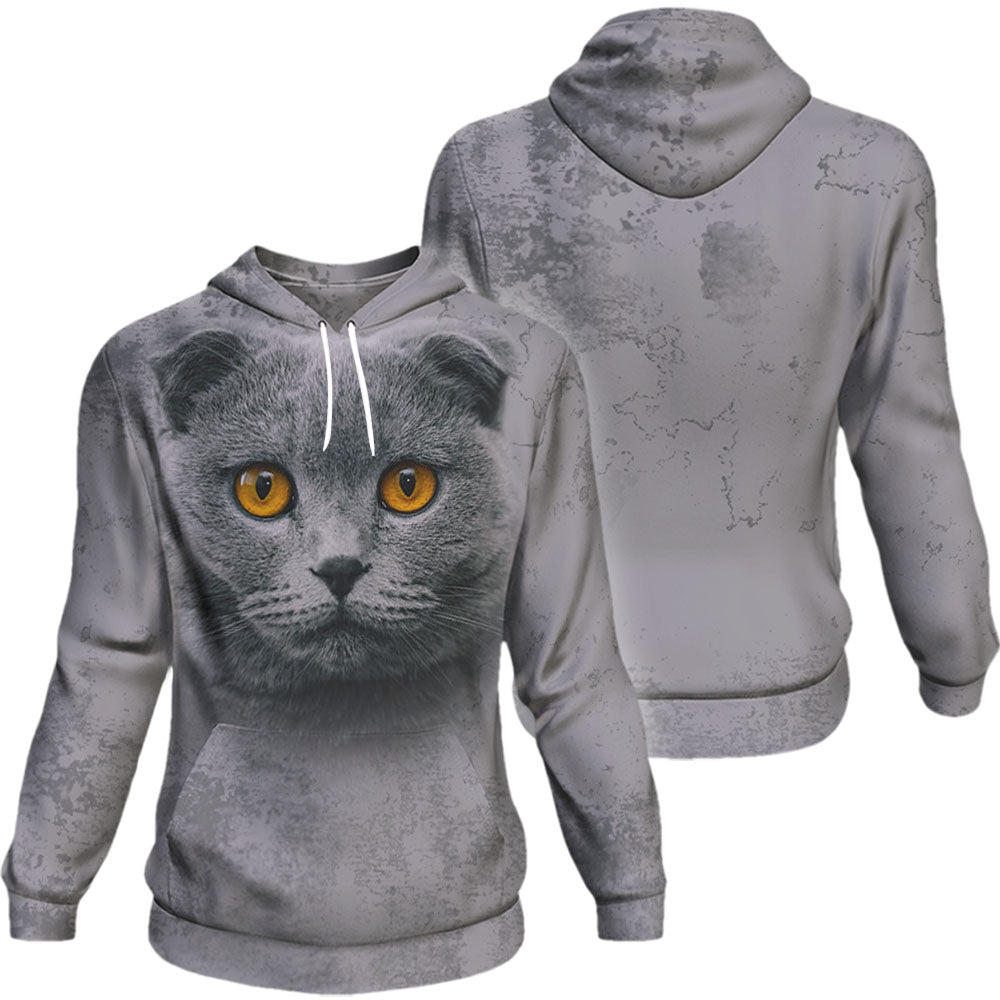 Scottish Fold Cat Kitten Big Face Hoodie