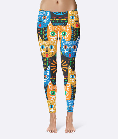 Cat Face Art Pattern Leggings