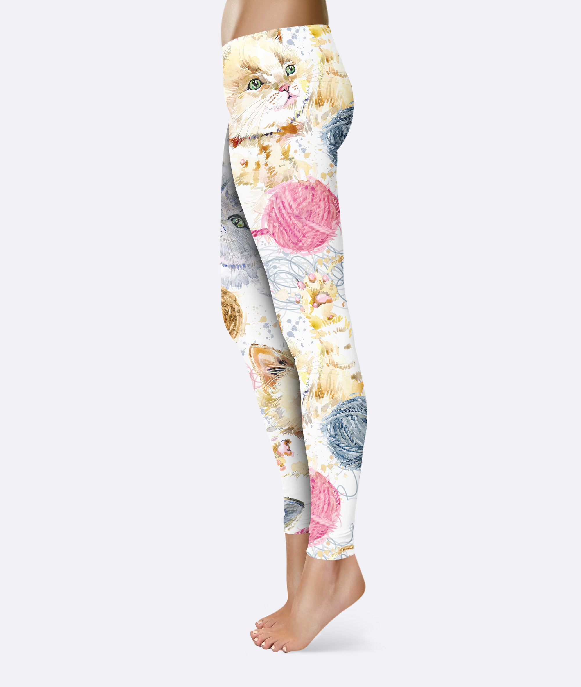 Kitten Face Watercolor Paiting  Leggings