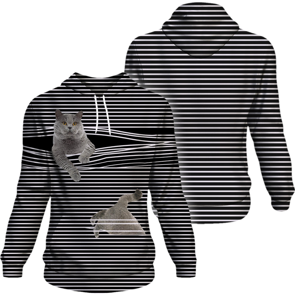 British Shorthair Cat Black White Stripe Hoodie