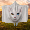 Beautiful White Cat Face Hooded Blanket