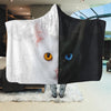 Beautiful Black White Cat Face Hooded Blanket