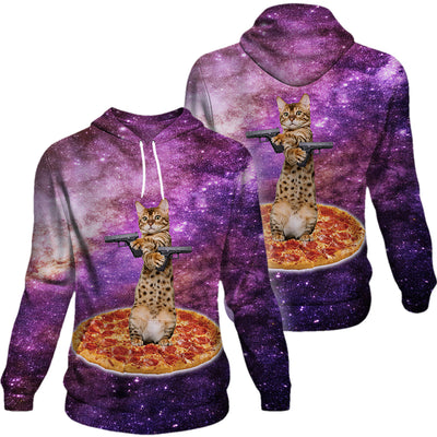 Bengal Cat With Gun Galaxy Hoodie