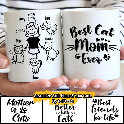 Girl and Cats Customized Gift With Names (1-10 cats) Personalized Mug