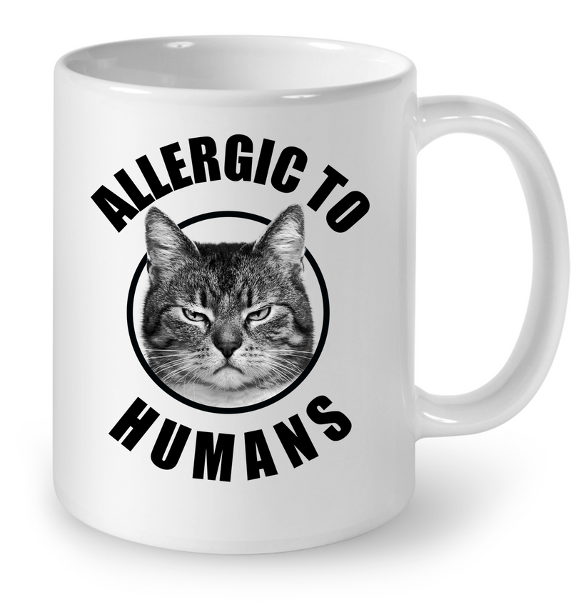 Allergic To Humans Funny Cat White Mug