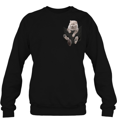 British Longhair Cat In Pocket T shirt