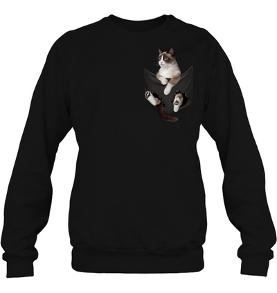 Snowshoe Cat In Pocket T shirt