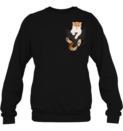 Exotic Shorthair Cat In Pocket T shirt