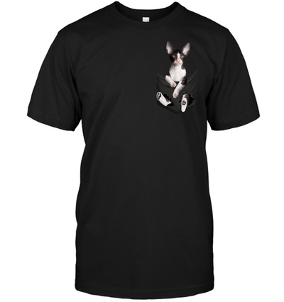 Cornish Rex Cat In Pocket T shirt