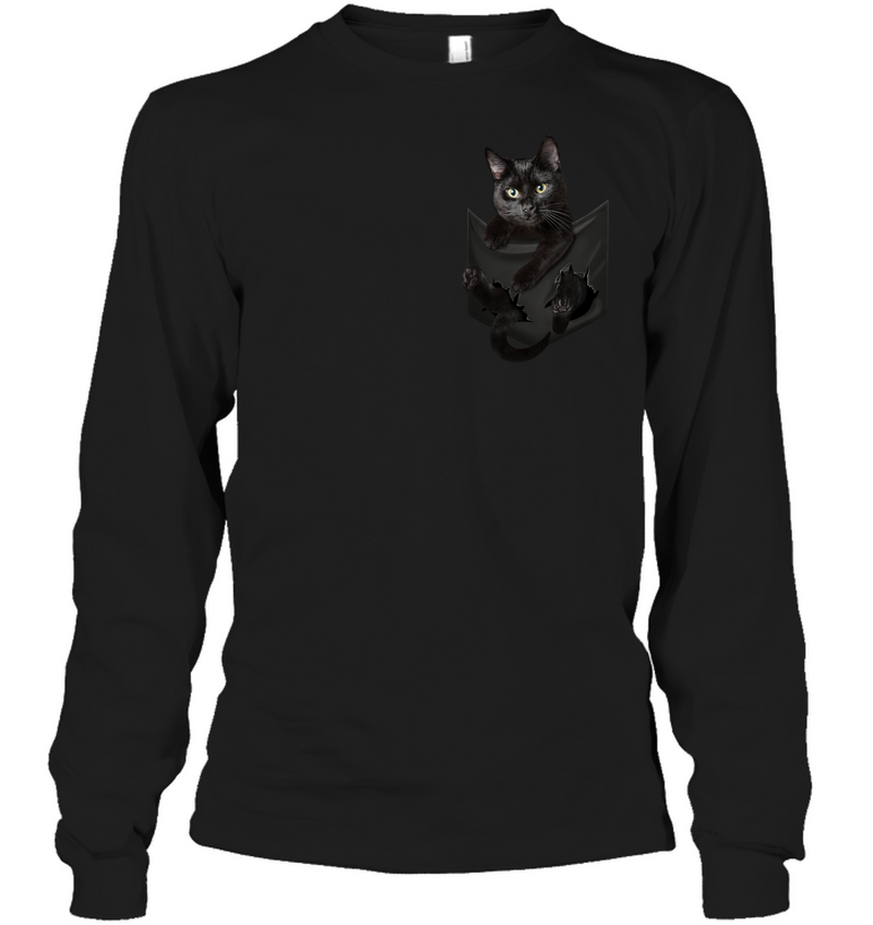 Black Cat In Pocket T shirt