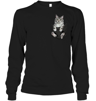 Maine Coon Cat In Pocket T shirt