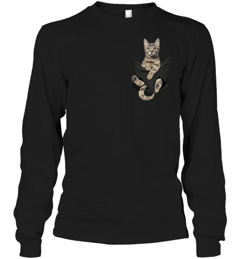 European Shorthair Cat In Pocket T shirt