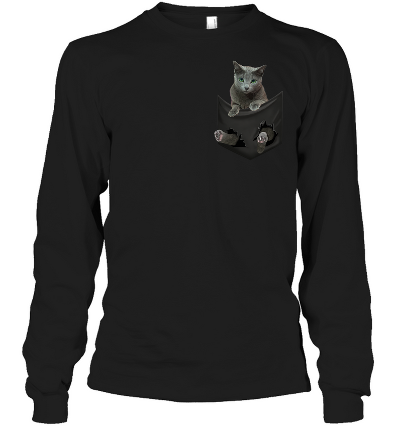 Russian Blue Cat In Pocket T shirt