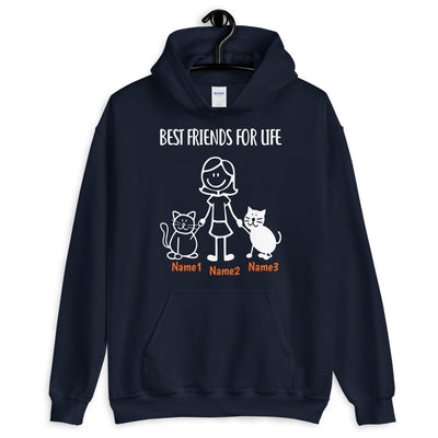 2 Cats & Girl - Custom Name Best Friends HOODIE