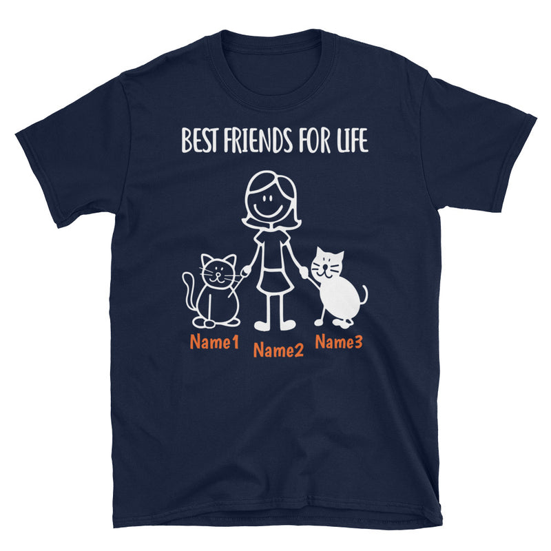 2 Cats & Girl - Custom Name Best Friends T-SHIRT