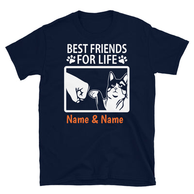Snowshoes Cat- Personalized Best Friends T-shirt (Customizable Names)