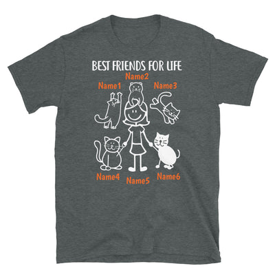 5 Cats & Girl - Custom Name Best Friends T-SHIRT