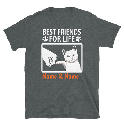 White Cat- Personalized Best Friends T-shirt (Customizable Names)