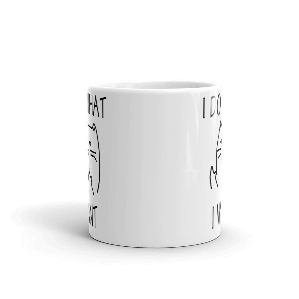 I Do What I Want Cat White Mug