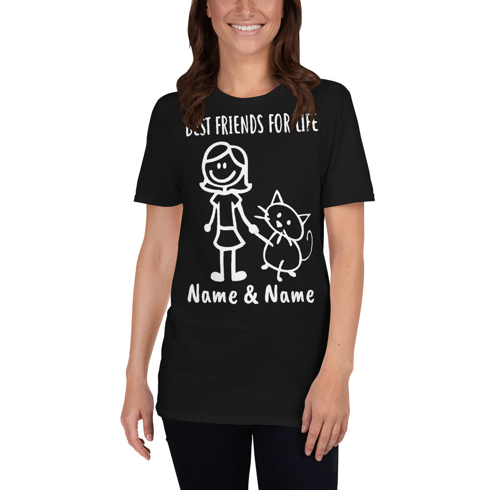 Custom Personalized Girl & Cat Best Friends T-shirt