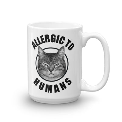 Funny Cat Allergic To Humans White Mug