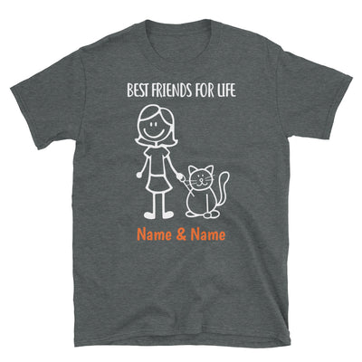 1 Cat & Girl - Custom Name Best Friends T-SHIRT