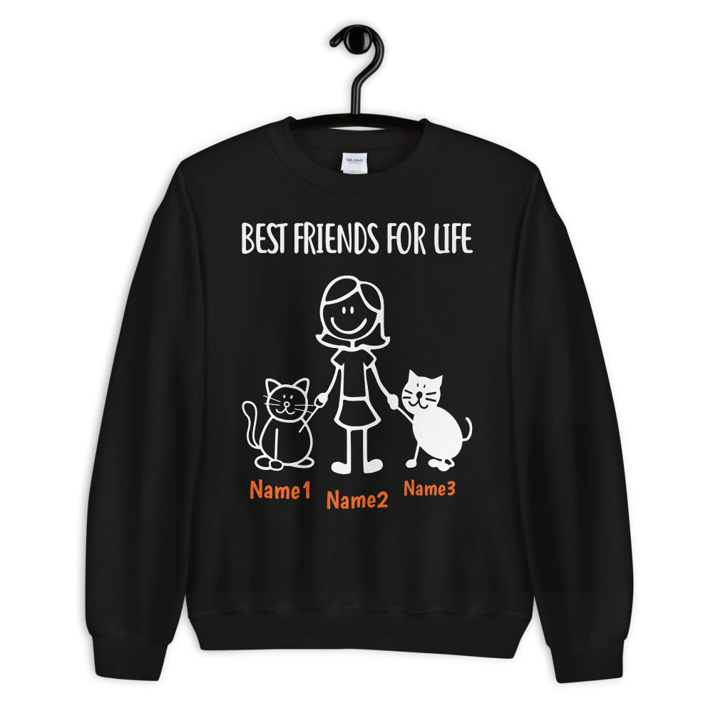 2 Cats & Girl - Custom Name Best Friends SWEATSHIRT