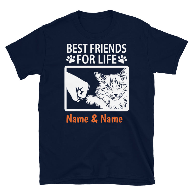 Maine Coon Cat- Personalized Best Friends T-shirt (Customizable Names)