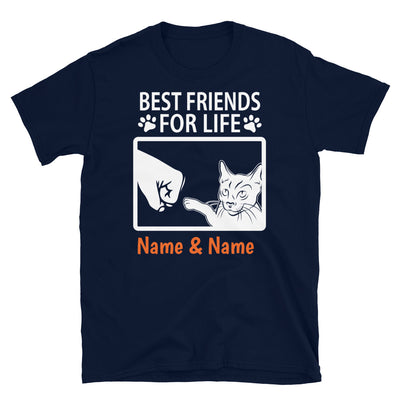 Russian Blue Cat - Personalized Best Friends T-shirt (Customizable Names)