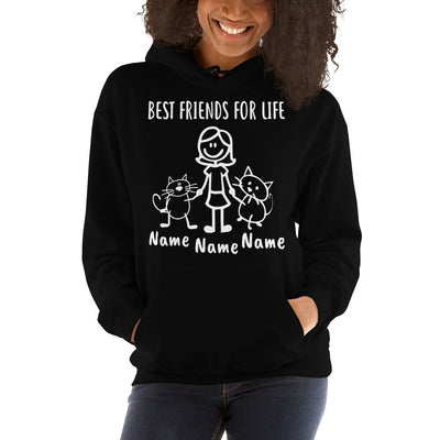 Personalized GIRL and 2 CATS Best Friends Hoodie
