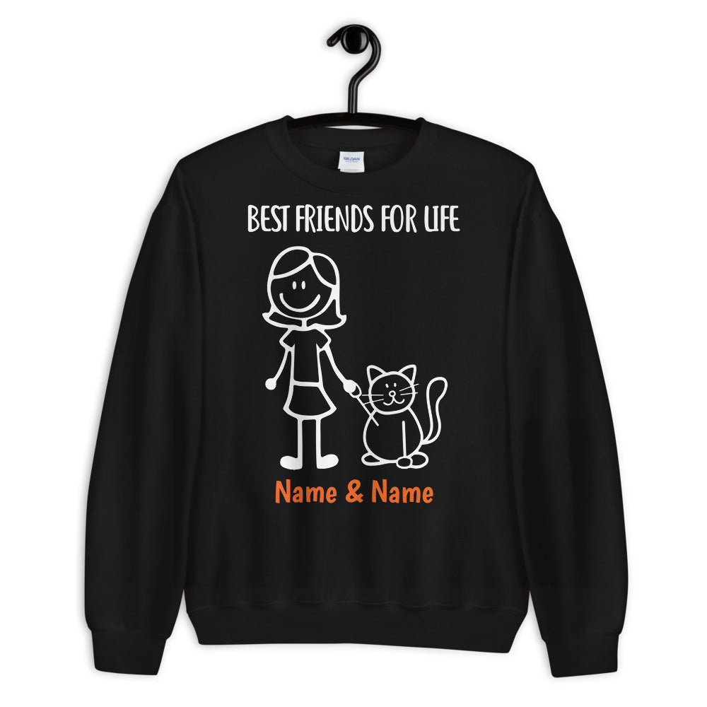 1 Cat & Girl - Custom Name Best Friends SWEATSHIRT