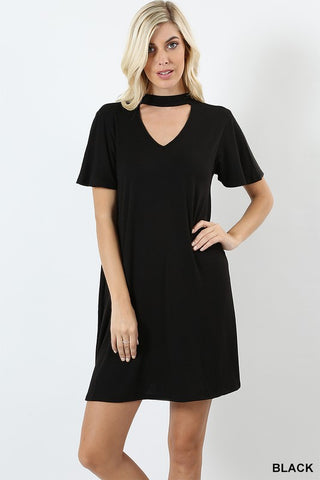 black choker dress with pockets